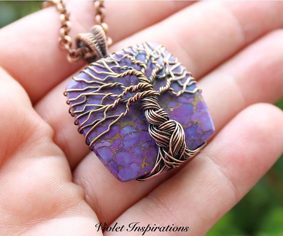 Tree of Life Pendant / Purple Mojave Turquoise / Wire Wrapped