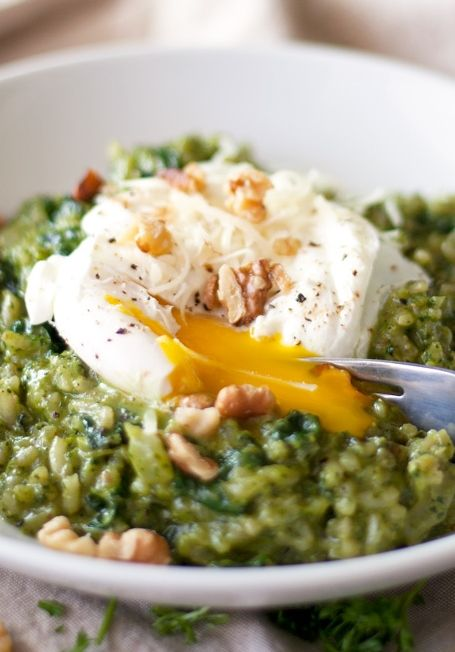 NO Fuss, NO Fail Oven Risotto with Kale Pesto - the easiest risotto I've ever made! Plus it's topped with a poached egg!