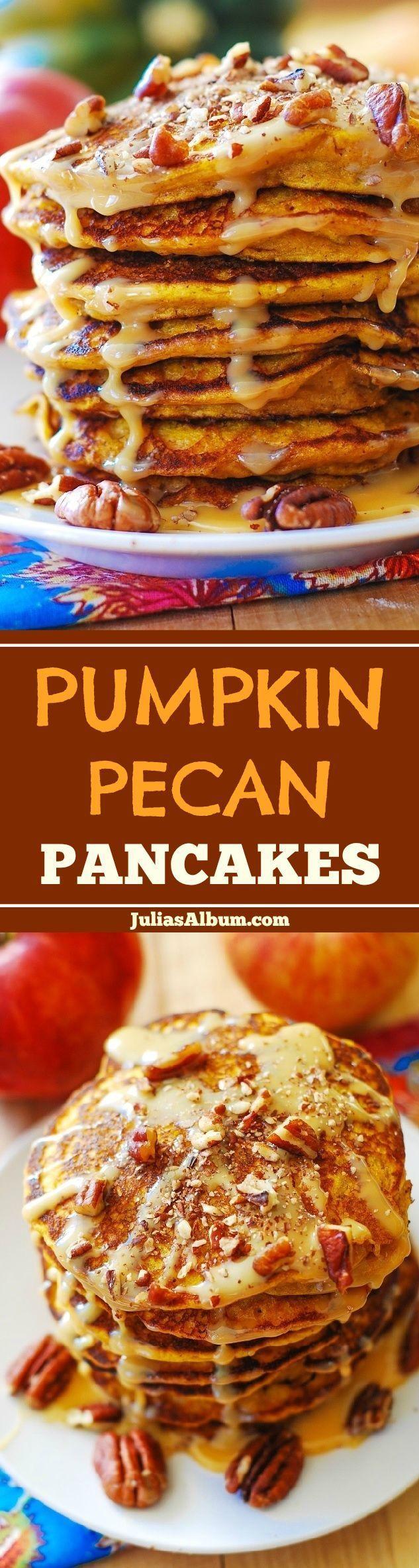 Pumpkin-Pecan Pancakes with Pecan Sauce #Thanksgiving #Fall #Holidays #breakfast via @juliasalbum/