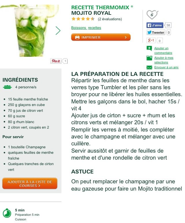 17 best images about mojito for ever lol on pinterest ice cubes mojito and cowboys - Recette mojito thermomix ...