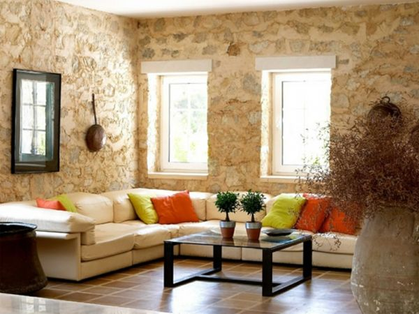 Rustic Living Room Beige Sofa With Stone Walls