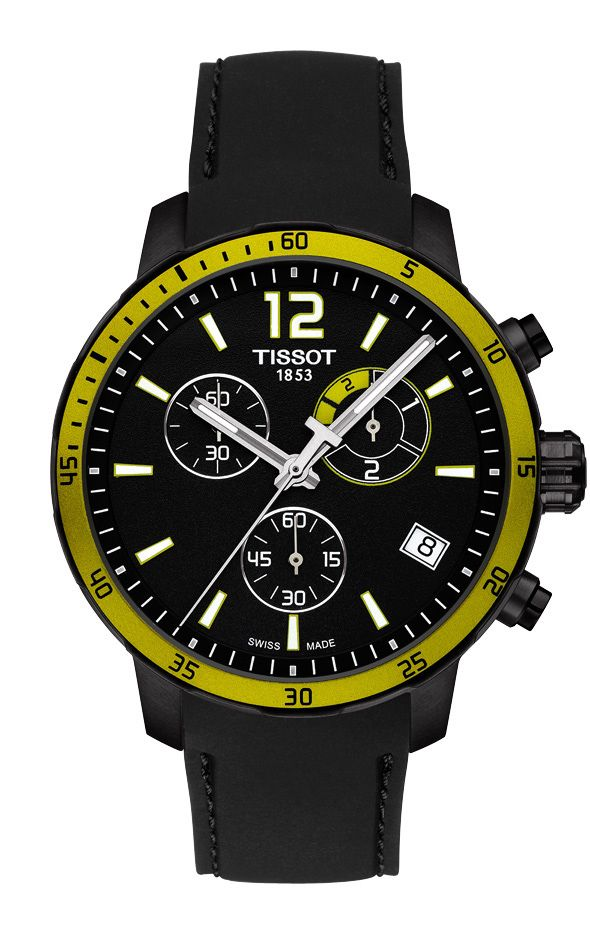 Tissot Quickster Football with black PVD case - yellow