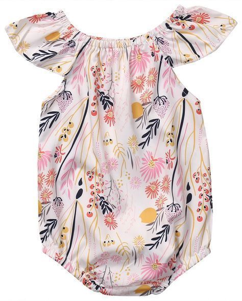9bb6a28a3 Floral print, flutter sleeves on the bubble romper for a toddler girl is  just too