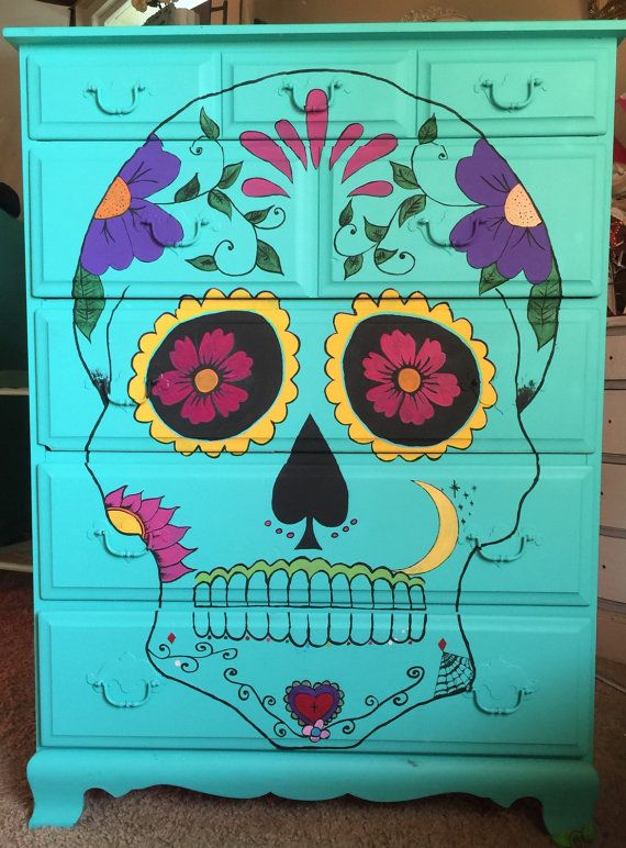 Dia de los muertos sugar skull calavera day of the dead turquoise