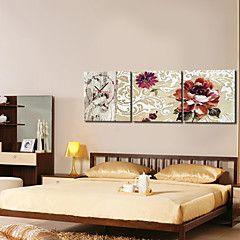beige moderno orologio da parete stile floreale in tela 3pcs