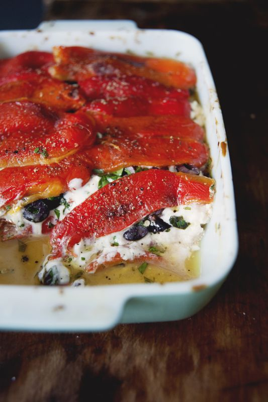 Roasted red peppers and goats' cheese – via The Kitchy Kitchen
