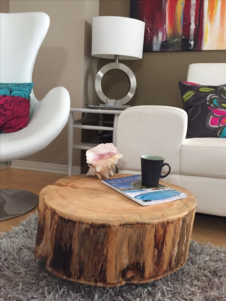 Stump Coffee Table, Tree Stump coffee table with metal legs, Stump Side  Table