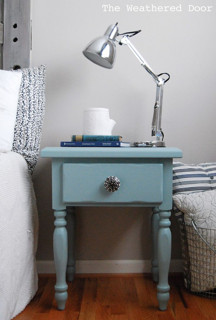I don't have many pictures of these ones, but I'm sharing anyway :) I picked up this set of nightstands at a thrift store, removed the old hardware, filled holes and then …