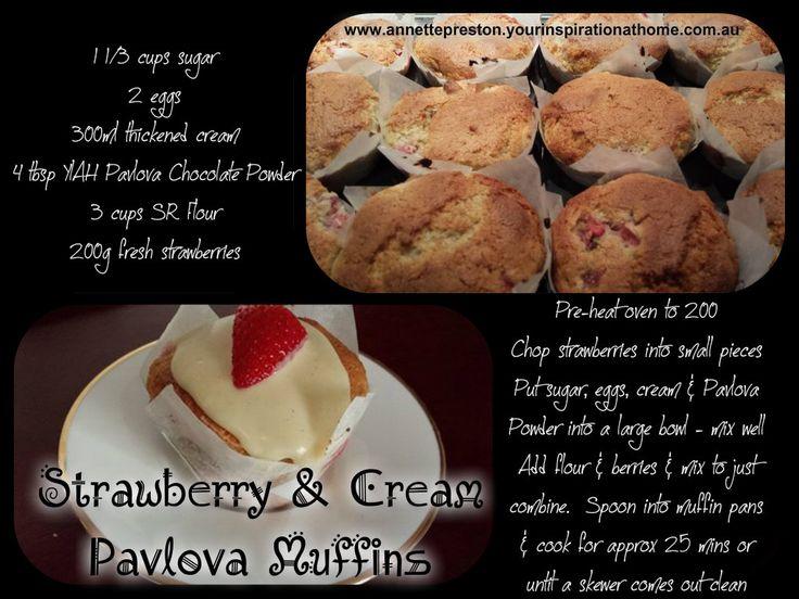 Strawberry & Cream Pavlova Muffins www.annettepreston.yourinspirationathome.com.au www.facebook.com/AnnetteP.YIAH