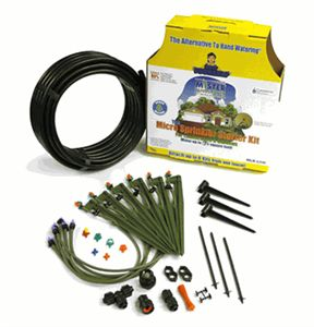 I love, love, love, this product.  This is not a substitute for a lawn sprinkler system.  It is for watering beds, containers, and trellises. I change things from year to year which requires a flexible irrigation system and this is it!!  Works easily off of your exterior faucet, blends in well and requires only a small trench for main hose.