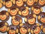 birthday cupcakes for curious George using vanilla wafers
