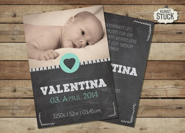 Baby- & Geburtskarten - Geburtskarte Valentina - ein Designerstück von kunstueck bei DaWanda