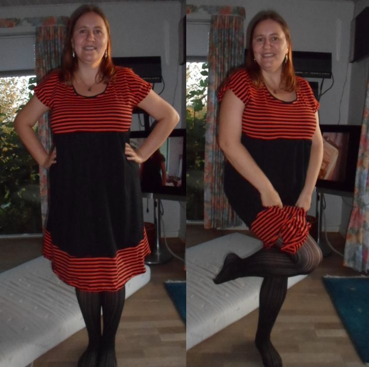 Homemade dress with tiger stripes.