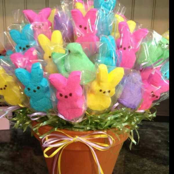 Easter Bunny peeps on a wooden skewer, wrapped in small cello bags. Flower pot with Easter grass and a bow completes the centerpiece.