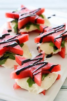 "Watermelon ""Caprese"" with Balsamic Glaze – perfect for Memorial Day!"