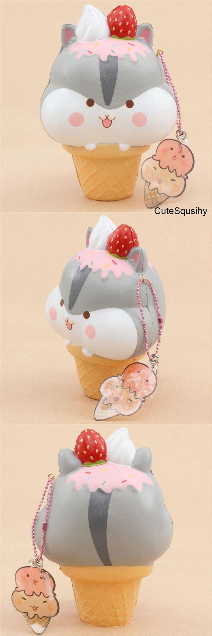 Kawaii Puni Maru strawberry dripping hampster ice cream cone squishy!