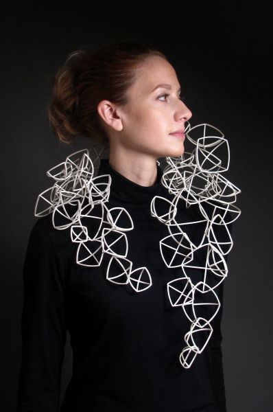 Geometric Necklace with connecting forms; architectural jewellery design // Erin Knisley