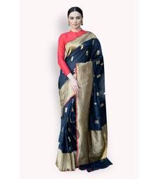 Buy Black woven tissue saree with blouse banarasi-silk-saree online