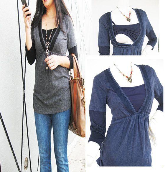 LACEY Maternity Clothing/ Nursing Top Breastfeeding Shirt/ Nursing Clothes New BLUE Shirt Original Design Pregnancy Clothes