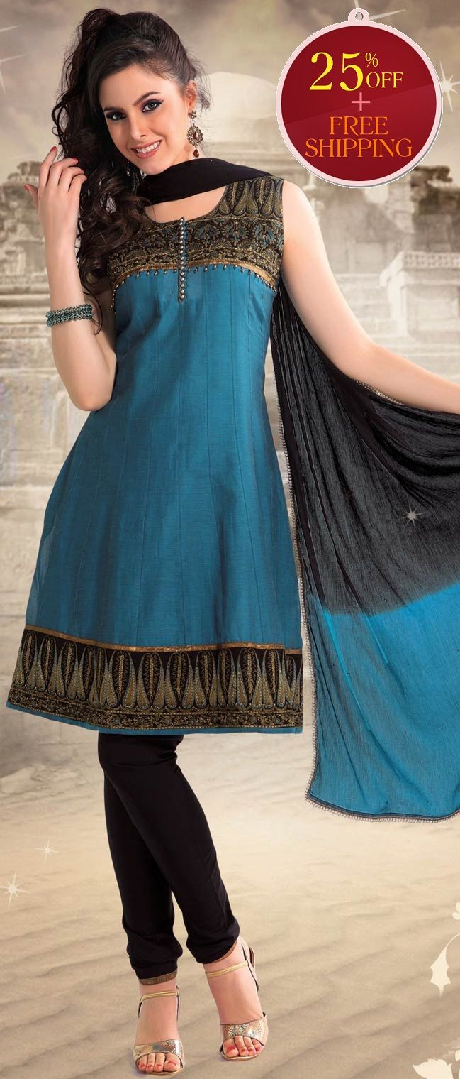 #Blue #Cotton Readymade #Churidar Kameez @ $ 92.80