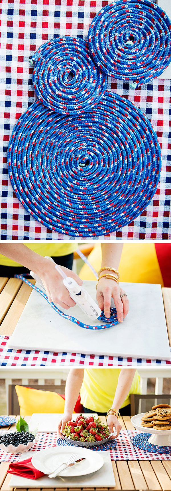 Nautical crafts to make - Alison Vinciguerra Of Long Distance Loving Used Poly Rope And A Hot Glue Gun To Make
