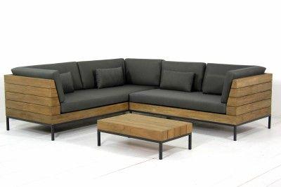 Van der Garde Tuinmeubelen - Tuinmeubelen - Loungeset - Teakhouten loungesets - Long Island loungeset Antique grey teak