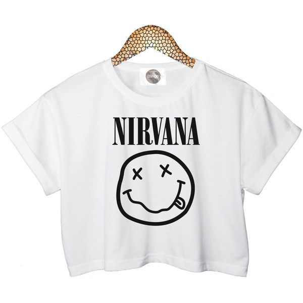 NIRVANA SMILEY t shirt top tee crop tank vest paris hipster fashion... ($25) ❤ liked on Polyvore