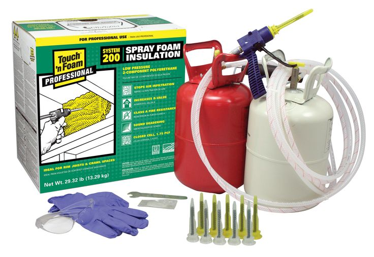"""Touch 'n Foam Pro System 200 is a self-contained 2-component foam system that is portable and disposable. Complete with pre-attached hoses and ergonomic foam applicator, the System 200 provides 200 board feet of polyurethane spray foam that when applied, dries in 60 seconds. The convenient """"Rip 'n Go"""" panel on the top of the carton can be removed for access to a convenient carrying handle for easier portability. #sprayfoam #kits"""