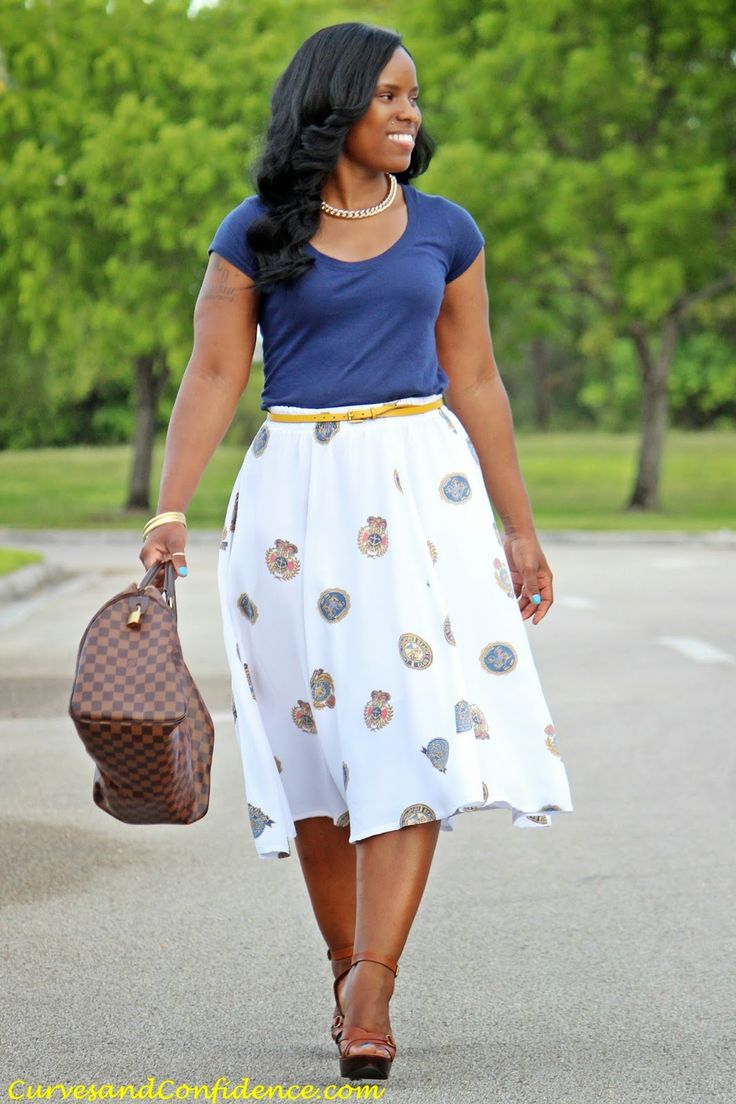 work, conference, going out, blue, white, yellow, pattern, skirt, belted, flats, heels, tucked, spring, summer