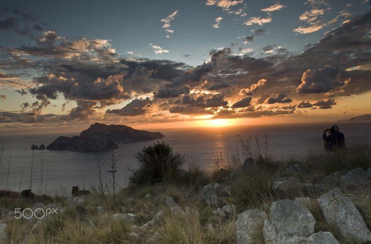 sunset on the island of Capri - null