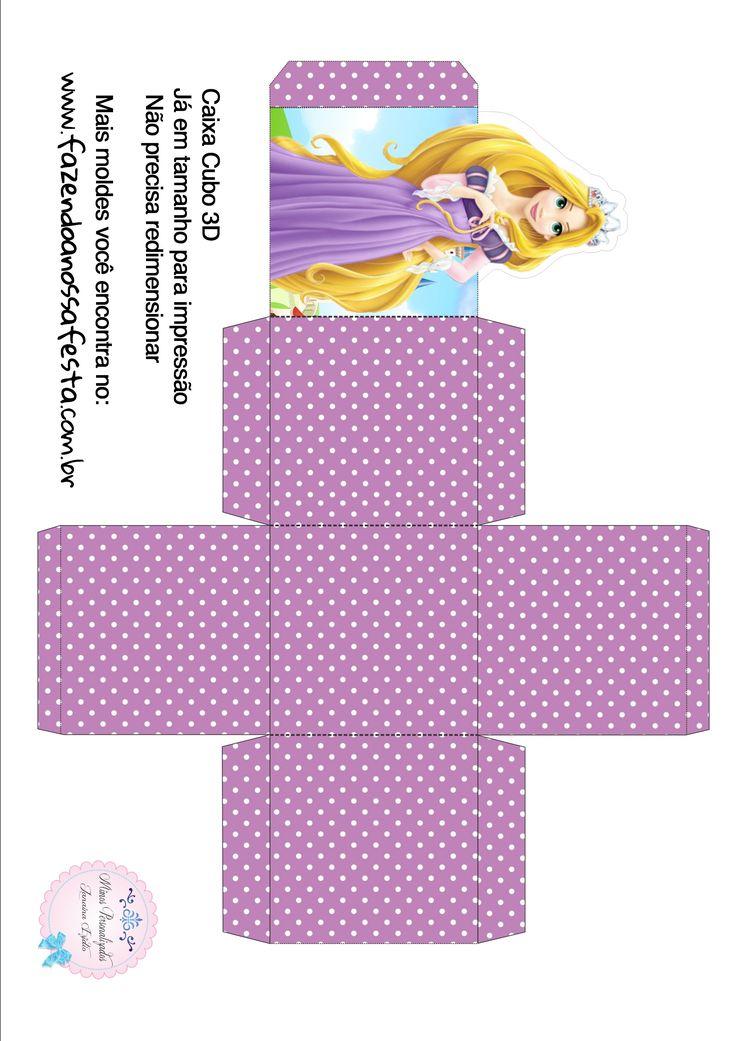Caixa Cubo 3D Rapunzel