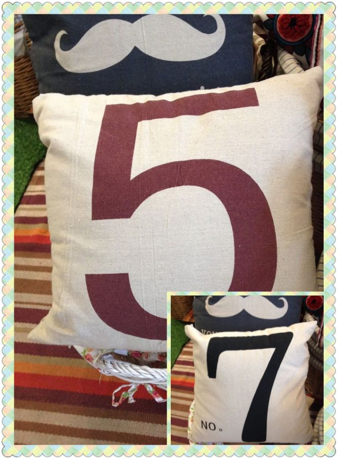 Number 5? Or number 7? Your choice! Number Eco Jute Cushion! Was $12 Now $9.60 (Offer ends 24th July 2014)