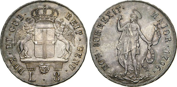 "NumisBids: Numismatica Varesi s.a.s. Auction 65, Lot 399 : GENOVA - DOGI BIENNALI (1637-1797, III fase) 8 Lire 1796 ""stemma..."