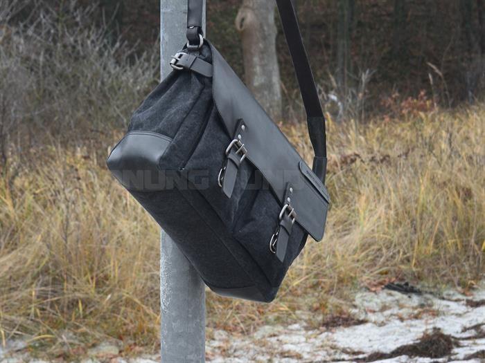Greenburry Umhängetasche Messenger BLACK SAILS Herren schwarz Canvas Leder Notebookfach jetzt online kaufen ✔ OrdnungUndMehr.com