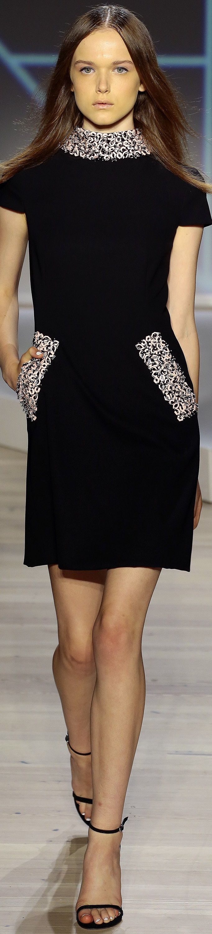 Pamella Roland Spring 2016 ~ New York Fashion Week. Original and pretty  this 'Little Black Dress'