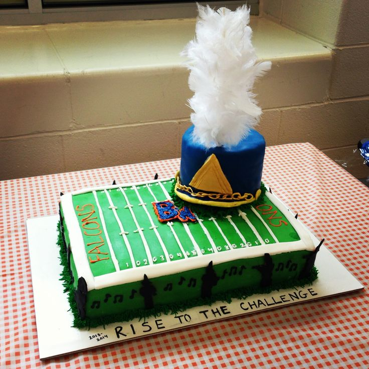 Homemade high school marching band cake.