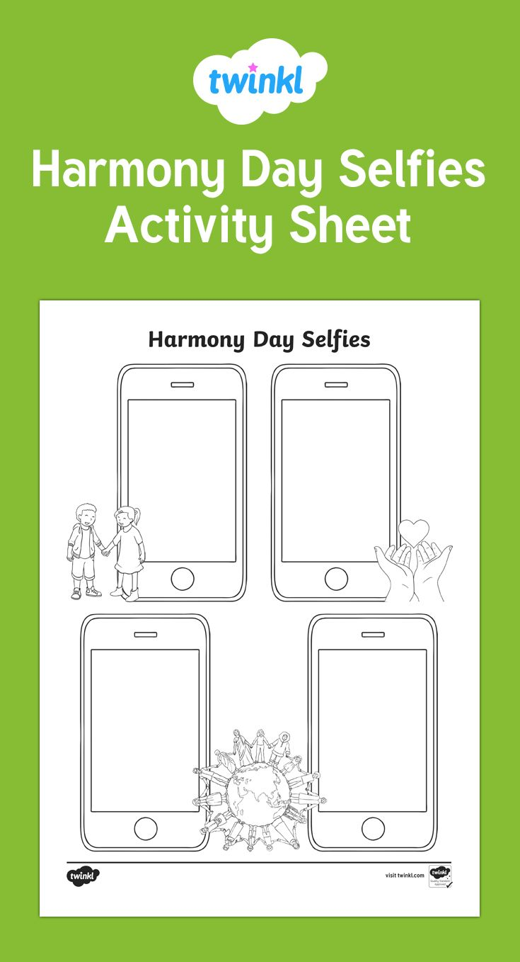 A fun Harmony Day activity! Ask children to imagine and draw themselves in a selfie photo showing how they live in harmony with others!