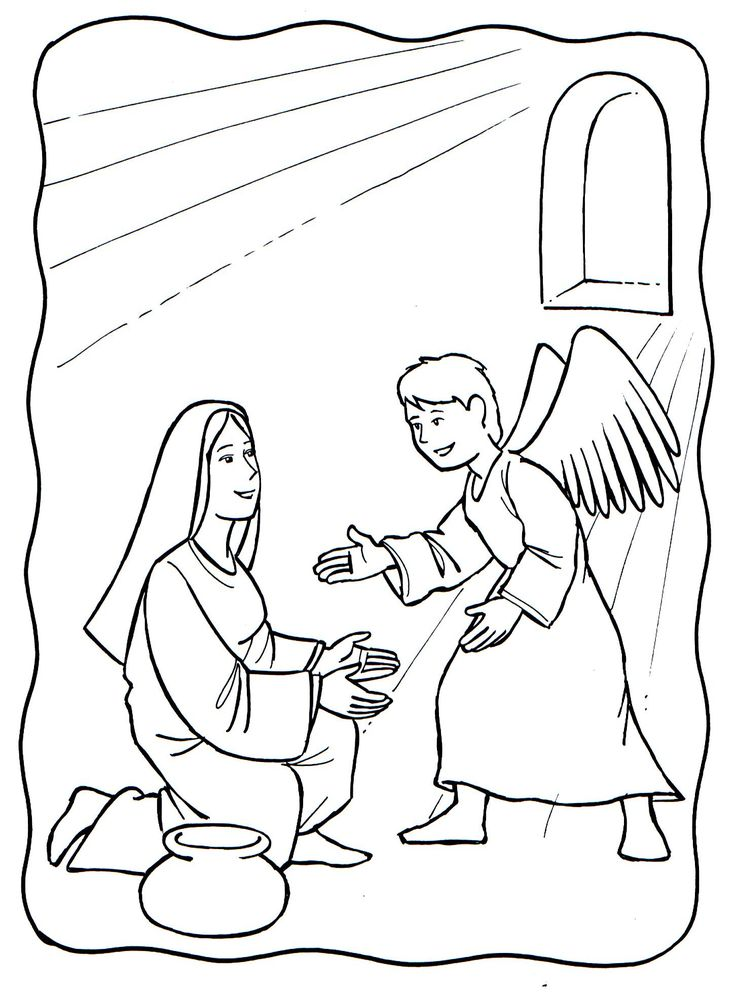 Coloring Sheet Angel And Mary Bing Images Bible Images
