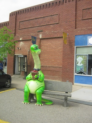 Dinosaurs in Drumheller, Alberta.  Picture is from my blog www.lorrainepaton.com