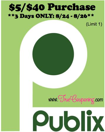 Special Coupons in 8/24 Sunday Newspaper: Publix $5/$40 SQ - 3 Days Only (Select FL Counties)! - TrueCouponing