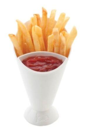 Suporte em plástico, ideal para servir batata frita com divisória própria para…
