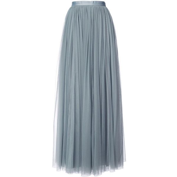 Needle & Thread pleated maxi skirt ($240) ❤ liked on Polyvore featuring skirts, grey, long pleated skirt, long gray skirt, ankle length skirts, gray pleated skirt and long grey skirt