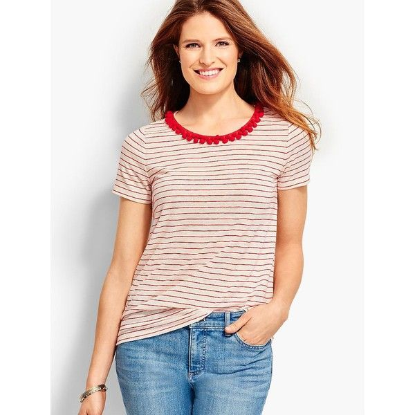 Talbots Women's Lagoon Stripe Pom Pom Trim Tee ($33) ❤ liked on Polyvore featuring tops, t-shirts, pink t shirt, petite tops, petite t shirts, short sleeve scoop neck tee and striped t shirt