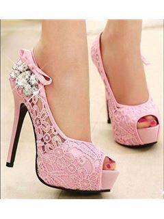 Courtlike Mesh Peep-Toe Heels Pink Wedding Shoes Wedding Shoes- ericdress.com 10957355