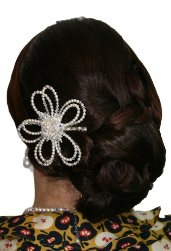 Handmade swarovski crystal pearl flower hair comb/ hair piece. Perfect for bride wedding, bridesmaid or formal.  www.redki.com.au Hair by Ultimate Bridal, Hair piece by Redki Wearable Art.