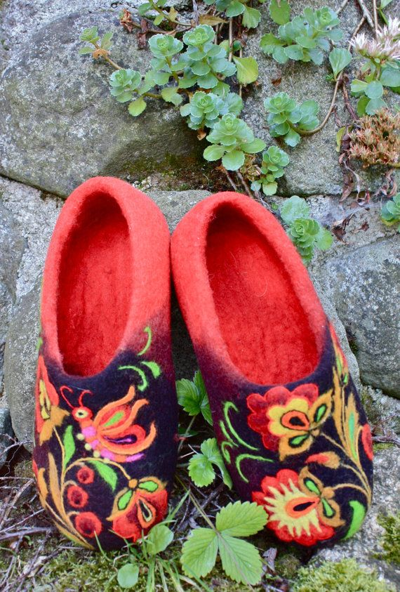 DIY Inspiration! - Felted Slippers Colored Red Fairy tale Made to order by IrinaU, $101.00