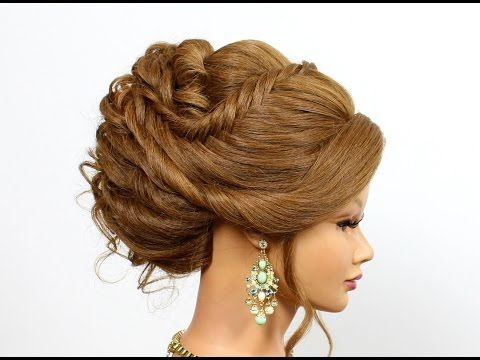 Romantic hairstyles for medium long hair. Updo hairstyles - YouTube