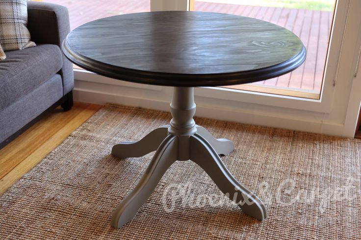 Round Dining table Annie Sloan French Linen base with clear wax and tea stain top with wipe on poly. https://facebook.com/phoenixandcarpet