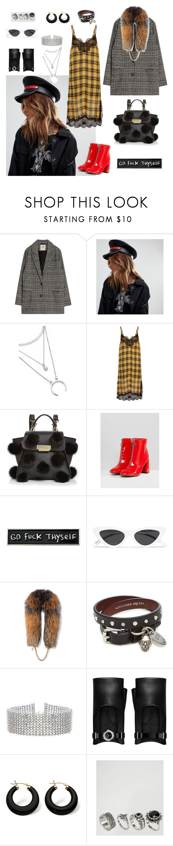 """""""Damn, girl"""" by laurapaganiposta ❤ liked on Polyvore featuring Sacred Hawk, ZAC Zac Posen, Lost Ink, RIPNDIP, Le Specs, Demarson, Alexander McQueen, Steve Madden, Chanel and Palm Beach Jewelry"""