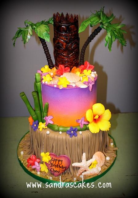 Luau Birthday cake by sandrascakes via Flickr